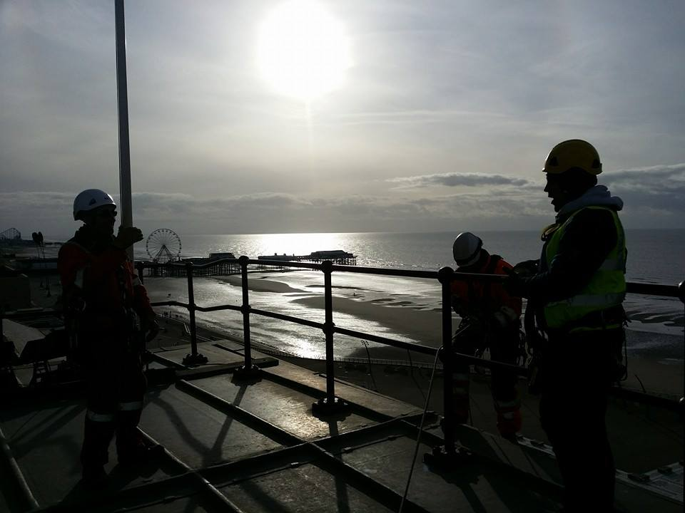 rope access team carries out structural survey