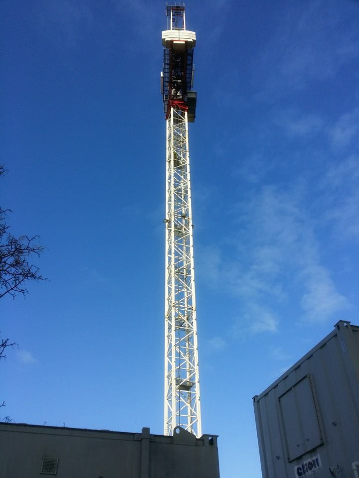 after picture result of a high level tower crane cleaned using rope access pressure washing methods