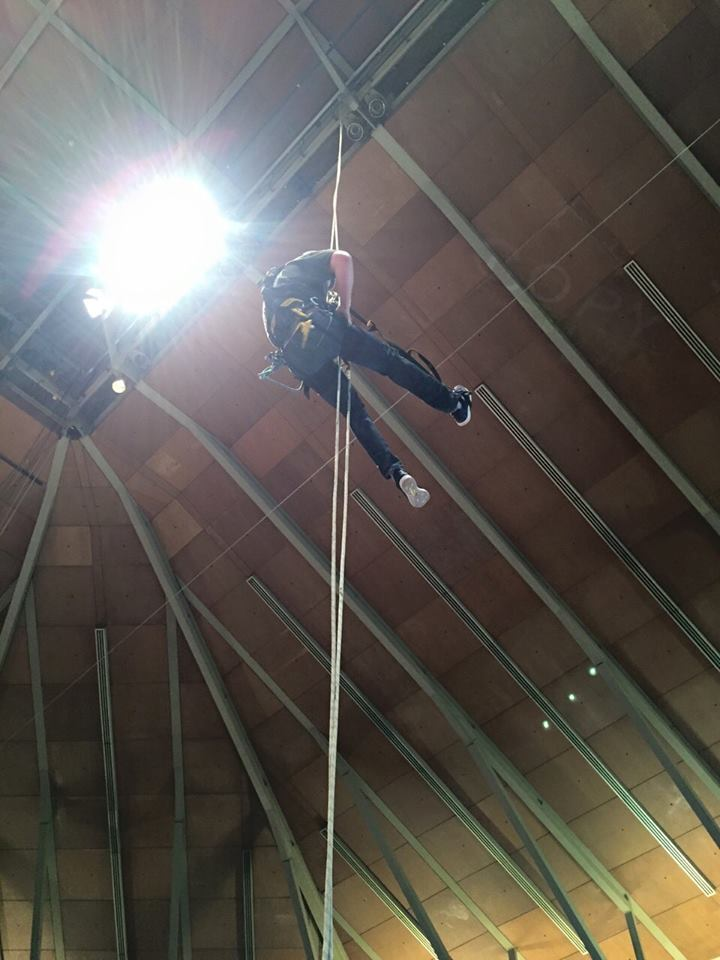 rope access electrical installation at the Preston Guild Hall.