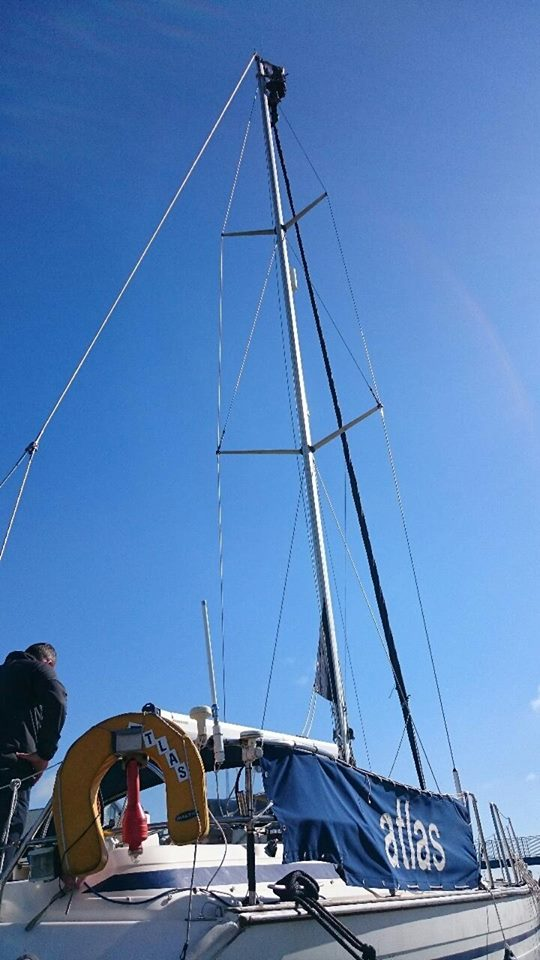 Windcup replacement carried out by rope access technician at Fleetwood Mariner.