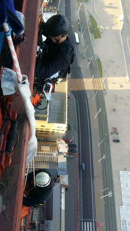 Rope access team carries out high level maintenace work on Blackpool Tower