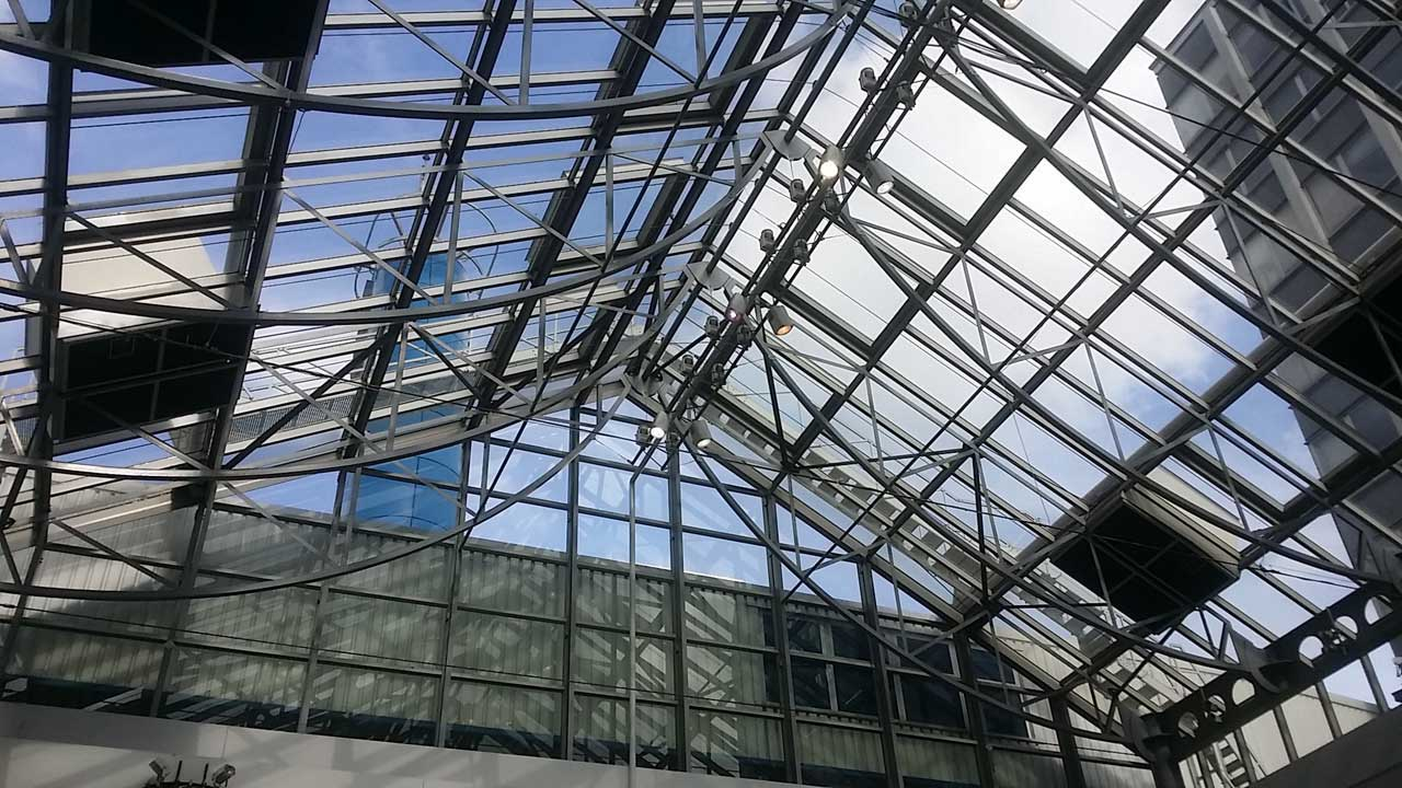atrium works being carried out by rope access technicians