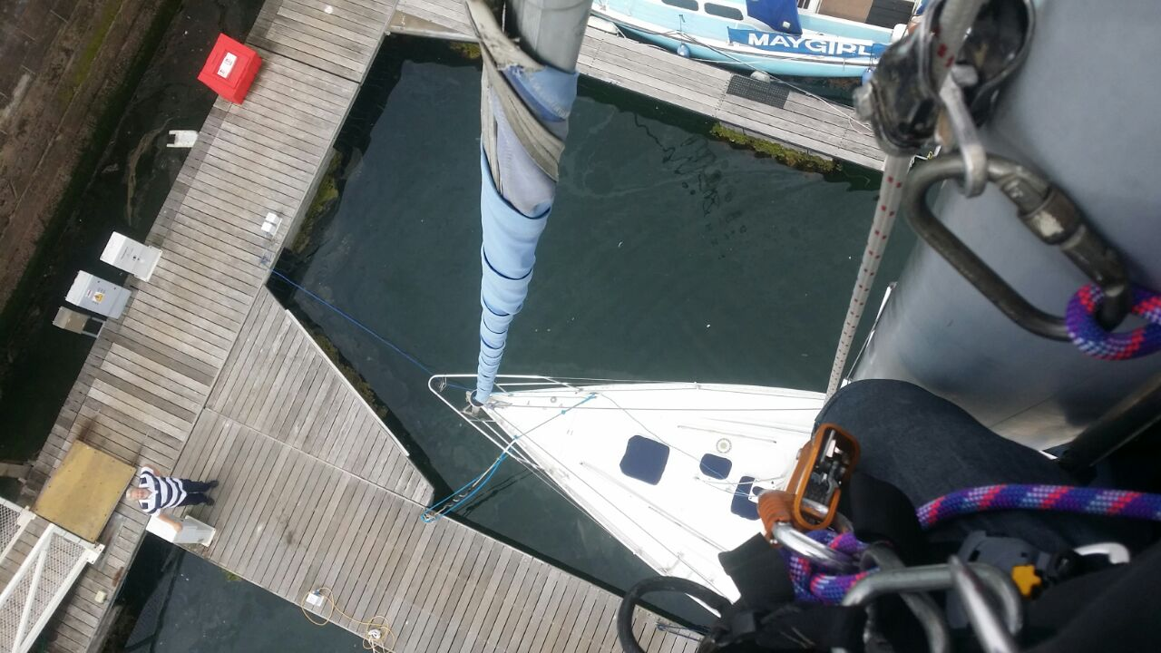 HLS replace wind cups at Fleetwood marina - this is the view of our rope access technicians looking down from the top of the mast. Marina Works