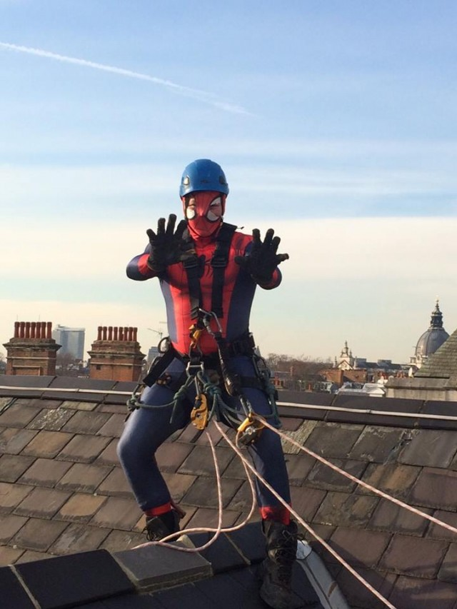 HLS technician James dresses up as Spiderman during works at a School in Knightsbridge, London. The kids loved it even if he did look a bit scary